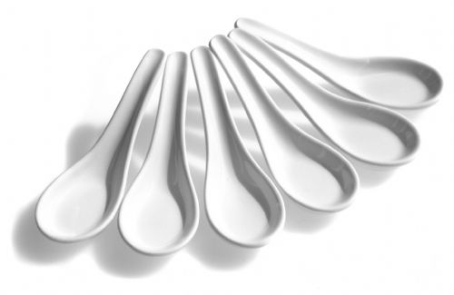 Chinese spoons white set of six
